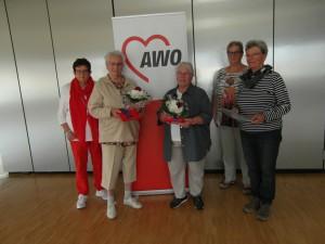 AWO Fuldatal: die Geehrten und die Ehrenden, von links: D.Bischoff, H.Heinemann, M.Schade, Chr.Groß, G.Walther